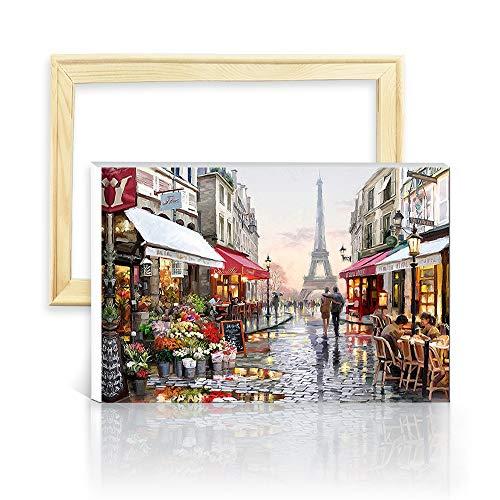 """decalmile Pintura por Número de Kits DIY Pintura al óleo para Adultos París Torre Eiffel 16""""X 20"""" (40 x 50 cm, con Marco de Madera)"""