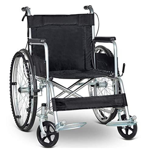 Y-L Vervoerstoel, Opvouwbaar Zelfwandelend Ouderen Rolstoel, Licht Oude Man Draagbare Rolstoel Gehandicapten Klein Ouderdom Trolley Kinderwagen, Geschikt voor Gehandicapten Mensen, Zwart