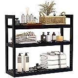 Bathroom Bamboo Shelf Organizer - 3 Tier Storage Shelf with Adjustable Wall Mounted Shelf Rack Over Toilet, Use for Bathroom, Kitchen, Living Room (Black)