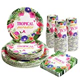 Hawaiian Luau Party Paper Plates Napkins and Cups Sets Serves 30, Flamingo Disposable Tropical Party...