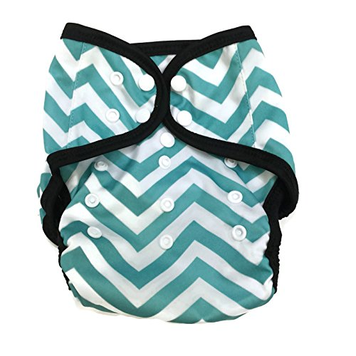 BB2 Baby One Size Printed Black Gussets Snaps Cloth Diaper Cover for Prefolds (One Size, Aqua & White Chevron)