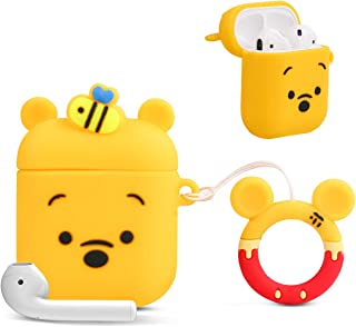 Bqmte Honey Winnie Cartoon Case for Airpods 1& 2, Cute Funny 3D Pattern Kawaii Soft Fun Cool Full Protection Shockproof Charging Case Cover with Keychain for Kids Girls Boys Women Teens(Honey Winnie)