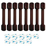 8 Pack Brown Child Safety Cabinet Locks - Viaky Adjustable Straps Baby Proof Latches for Drawers, Oven, Refrigerator, Toilet Seat, Closet and Cupboard, Free 9 Extra 3M Adhesive Pads