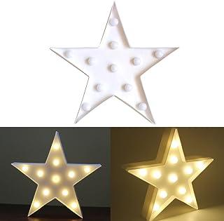 Ledmomo - Lámpara de noche de 11luces LED con forma de estrella, funciona con pilas, para decoración de Navidad, bodas o fiestas