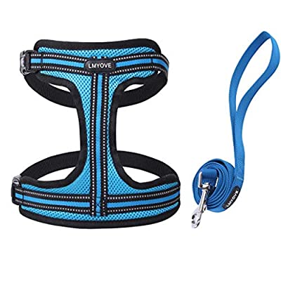 Lmyove Dog Harness with Leash, Reflective Adjustable Vest Harness for Dogs