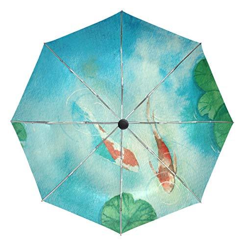 Paraguas de Viaje pequeño a Prueba de Viento al Aire Libre Lluvia Sol UV Auto Compacto 3 Pliegues Cubierta de Paraguas - Dos Peces de Carpa en Estanque