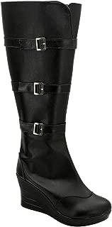 Womens Widow Natasha Leather Black Wedge Boots Shoes Cosplay Costume