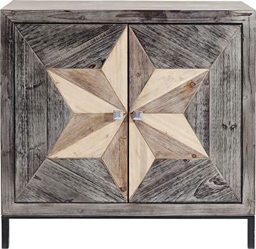 Kare Design Kommode Starry 88cm, kleines, schmales Sideboard mit 2 Türen aus Echtholz, braun mit extravagantem Sternmuster an der Schrank Front, Handgearbeitet, (H/B/T) 88x90x38cm