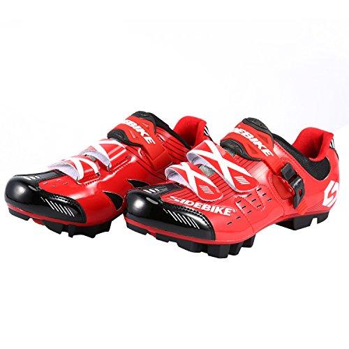 Asvert Zapatillas Bicicleta Montaña Unisex Profesional con Plantilla Antideslizante Amortiguador para Ciclismo MTB al Aire Libre (Talla 45, Rojo)