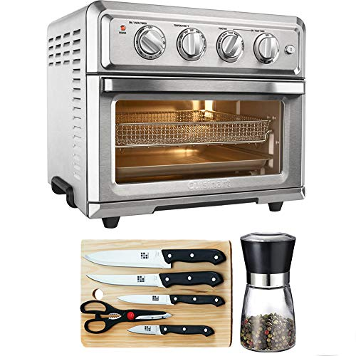 Cuisinart Convection Toaster Oven Air Fryer with Light Silver (TOA-60) with Home Basics 5-Piece Knife Set with Cutting Board & Spice Mill