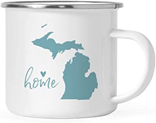 Andaz Press 11oz. US State Stainless Steel Campfire Coffee Mug Gift, Aqua Home Heart, Michigan, 1-Pack, Metal Camping Camp Cup Long Distance Moving Away Hostess Graduation Gift