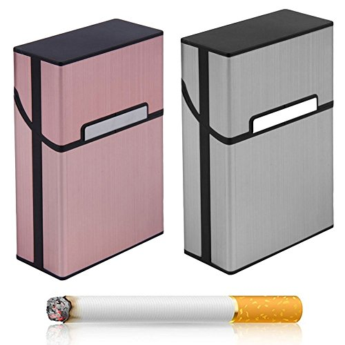 Mroobest Cigarette Boxes Set of 3 Boxes with Magnetic Clasp Elegant Design Aluminium Boxes 3 x Cigarettes Box for 20 Cigarettes (Silver Grey + Rose Gold + Champagne Gold)