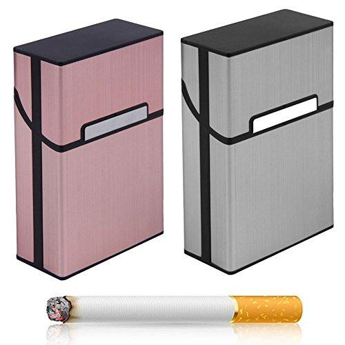 Zigarettenboxen, 2 Stück Zigarettenboxen mit Magnetverschluss Metall Elegante Entwurf Aluminium Zigaretten Kasten, 2 x Zigarettenbox für 20 Zigaretten(Silber Grey + Rose Gold)