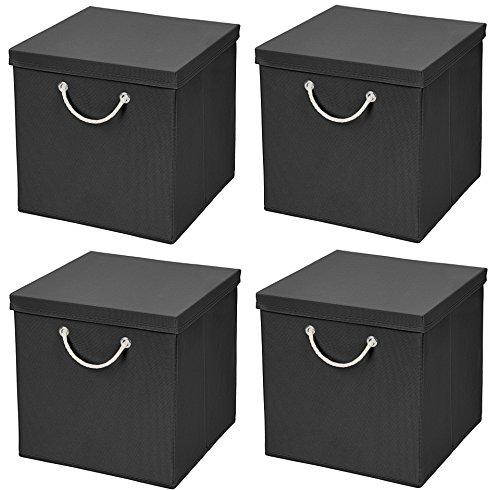 Stick&Shine 4X Aufbewahrungs Korb Schwarz Faltbox 30 x 30 x 30 cm Regalkorb faltbar mit Kordel und mit Deckel