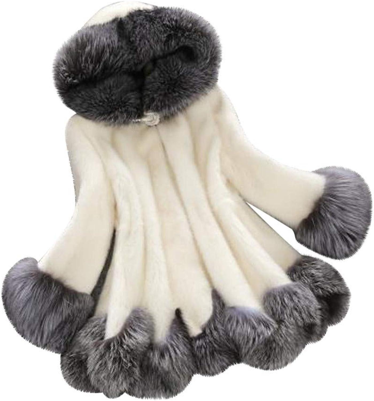 ZEFOTIM Women Long Sleeve Parka Outwear Fox Fur Coat