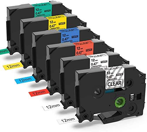 Nastro per Etichette MarkField Compatibile In sostituzione di Brother P-touch TZe TZ Tapes 12mm 0.47 Cassetta per Brother P touch PT-1000 PT-1010 1080 H105 H100LB/R D200 2030VP 2100VP, 6 Pack