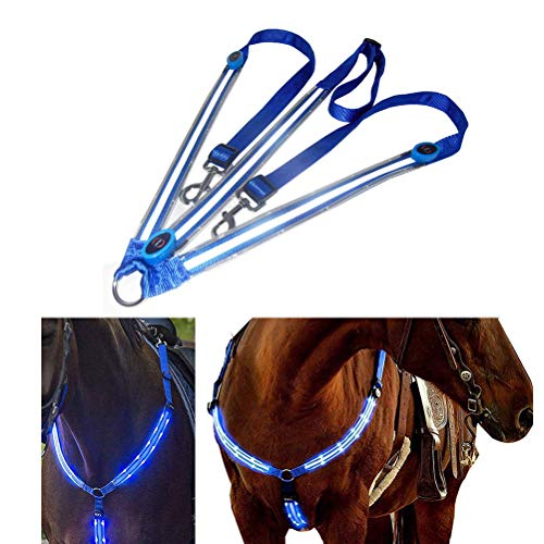 Egosy LED Pferdegeschirr LED Brustgurt Pferdegeschirr Pferde Brustgurt für Dunkle Umgebung Outdoor Und Pferdesport