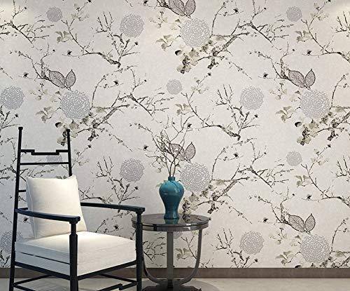 Wallpaper Chinese behang Bloemen en Vogels Golden vliesbehang Warm Romantische Woonkamer Slaapkamer Wall Hotel 0.53mx10m jilisay (Color : Rice Gray)