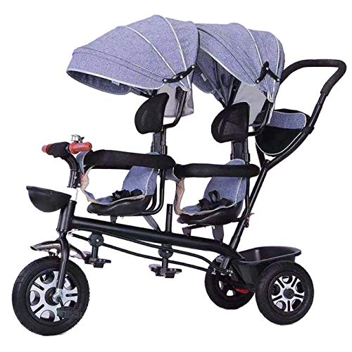 QINJIE Twins Tricycle Tandem Tandem Cochecito,Gris