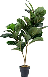 A&B Home Un-Real Fiddle Fig Leaf with 34 Leaves - Green, Brown
