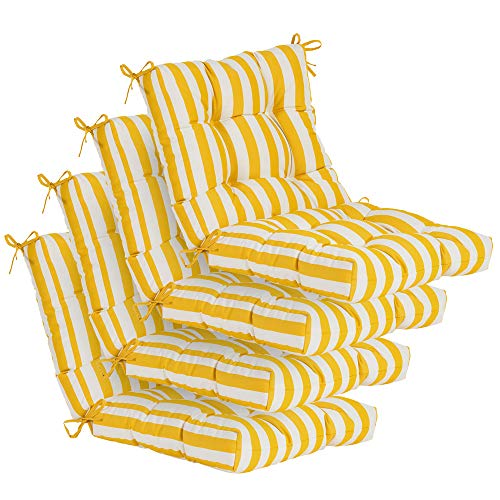 QILLOWAY Outdoor Seat/Back Chair Cushion Tufted Pillow, Spring/Summer Seasonal Replacement Cushions - Pack of 4 (Yellow&White Stripe)