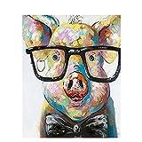 QHZCJ Peinture par Numéros Kits avec Brosses Et Peintures pour Adultes Enfants Seniors Débutant - Petit cochon avec miroir argenté DIY Acryliques Kits De Peinture sur Canevas,40X50 Cm