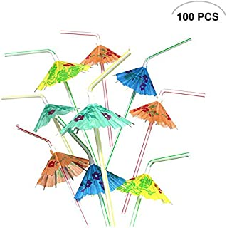 100PCS Mseeur Multicolored Hawaiian Umbrella Parasol Disposable Bendable Drinking Cocktail Straws - For Island Themed Party, Kitchen Supplies, Bars, Restaurants Fun Summer Party BBQ.