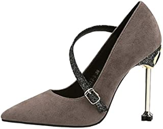 KTYXDE High Heels Fashion Temperament Sexy Work Shoes Shallow Shoes Single Shoes High Heels 10.5CM 4 Colors Women's Shoes (Color : Gray, Size : EU39/UK6/CN39)