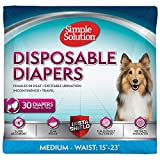 Simple Solution True Fit Disposable Dog Diapers for Female Dogs | Super Absorbent with Wetness Indicator | Medium | 30 Count