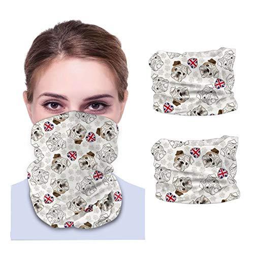 Máscara facial Bandana para cubierta de polvo Inglés Bulldog Dog Paw Print Bandera británica Diadema calentador de cuello 2 piezas