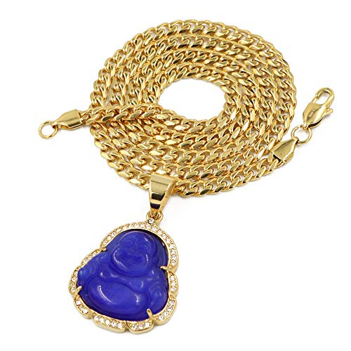 Raonhazae Stainless Steel Gold Iced Out Smiling Chubby Buddha (Blue Jade) Pendant w/Cuban Chain (24)