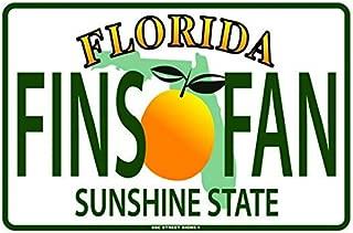 Florida Fins Fan License Plate Aluminum Tin Metal Poster Sign Wall Decor 12x18