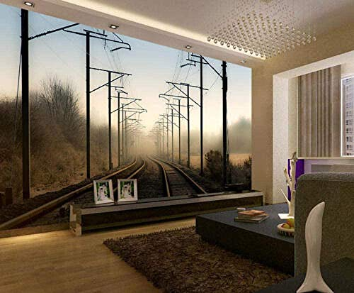Decoración de pared L-Railway Fog Line Power Line Vinilo 3D-Wallpaper Poster Wall Pictures Pared Pintado Papel tapiz 3D Decoración dormitorio sala sofá mural-200cm×140cm