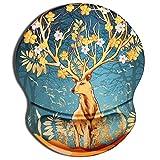 CHUQING Alfombrilla de ratón con almohadilla de gel ergonómica, antideslizante, diseño de ciervo dorado