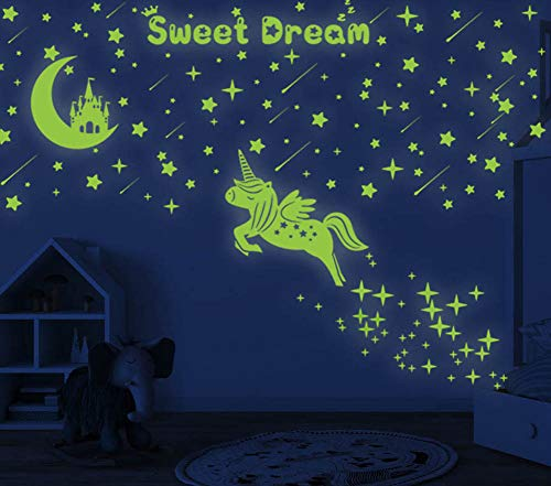 353 PCS Glow in Dark Stars and Moon Castle, Glowing Unicorn for Ceiling and Wall Decals, Kids...