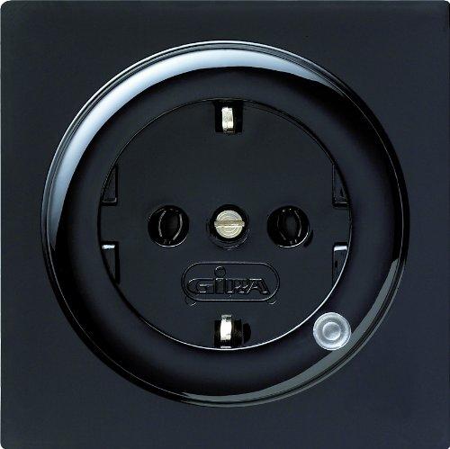 Gira 018247 Schuko stopcontact met verlichting S, zwart