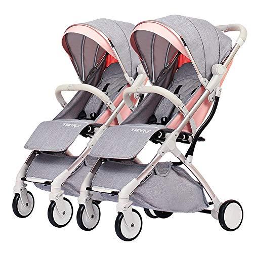 Poussettes JCOCO de jumeau de bébé, Chariot détachable d'enfant, Cadre de Pliage léger de Chariot d'alliage d'aluminium de Double Chariot portatif léger ( Color : Lotus Pink )