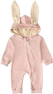 T TALENTBABY Neugeborenes Baby Jungen Mädchen Kaninchen 3D Ohr Mit Kapuze Reißverschluss Strampler Herbst Winter Unisex Baby Warme Body Overall Outfits Kleidung