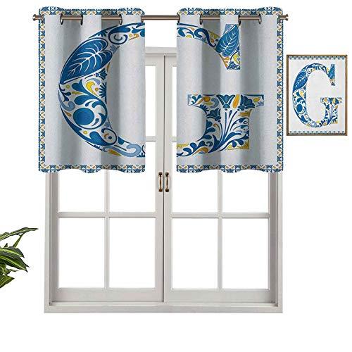 Hiiiman Cenefa de cortinas cortas, bloqueando la luz, letra G, elementos naturales en tonos azules, alfabeto, cultura europea, juego de 2, 106,7 x 60,9 cm, cortinas de ventana para sala de estar