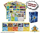 100 Pokemon Cards Plus 5 Rare Legendary Pokemon Cards! Includes Golden Groundhog Deck Box!