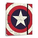 Grupo Erik - Carpeta 2 anillas troquelada premium Escudo Capitán América, Marvel (32x26 cm)