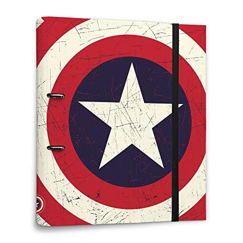 ERIK - Carpeta 2 anillas troquelada premium Escudo Capitán América, Marvel (32x26 cm)