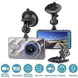 Caméra de Voiture OXOQO HD 1080P Caméra embarquée 170 degrés Grand angle, 4 pouces Grand écran IPS Double Dash Cam avec G-Sensor, Enregistrement en boucle, Vision nocturne, WDR, Mode parking