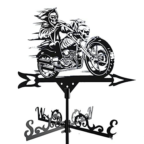 Wetterfahne FüR Den AußEnbereich, Richtungsanzeiger FüR Edelstahl-SprüHfarbe FüR MotorräDer, Verwendet FüR Dachdach- Und Gartendekoration,Schwarz