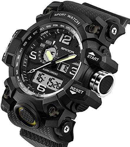 Mens Military Watch Dual Display Waterproof Sport Digital Big Wrist Watch Outdoor Army Wristwatch