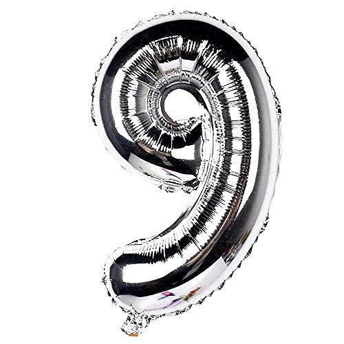 Ballonleeftijd - ballon - nummer 9 - hoogte 100cm - zilverkleur - verjaardag - nieuwjaar - feest - decoraties - gevierd