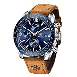 BENYAR - Stylish Wrist Watch for Men Leather Strap Watches Quartz Movement, Waterproof and Scratch Resistant, Analog Chronograph Business Watches