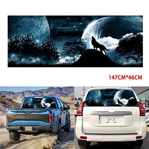 PoeHXtyy Auto Heckscheibe Grafik Wolf Howling Moon Galaxy Aufkleber Farbton Print Aufkleber für LKW SUV