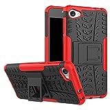 sangrl custodia per alcatel a5 led, [2 in 1] hybrid dual layer armor cover robusta guscio di protezione pc + tpu anti-scivolo custodie case rosso