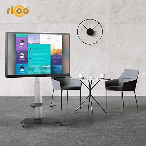 RICOO LCD TV Ständer Standfuss Glas Standfuß Halterung Neigbar FS0200 Schwenkbar Drehbar mit Rollen Höhenverstellbar LED Fernseher Stand Möbel Rack VESA 400×400 Universal inkl. DVD Receiver Glas Regal - 4